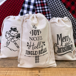 Vintage Christmas Cotton Canvas Drawstring Bags Set Giveaway