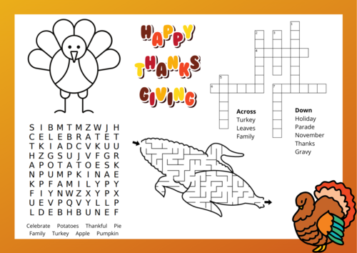Thanksgiving Place Mats For Kids