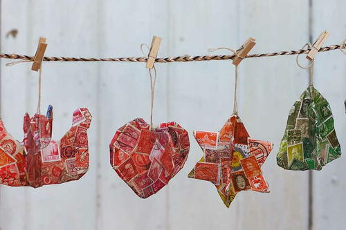 Cardboard Postage Stamp Ornaments