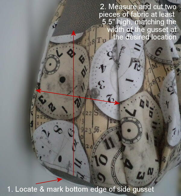 Image shows measuring fabric for gusset pockets.