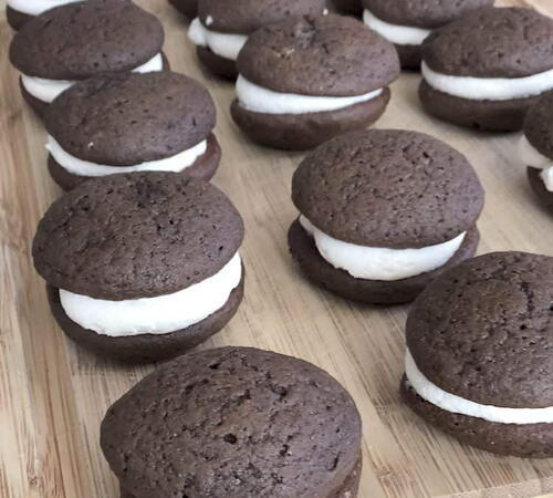 Chocolate Whoopie Pies With A Marshmallow Filling