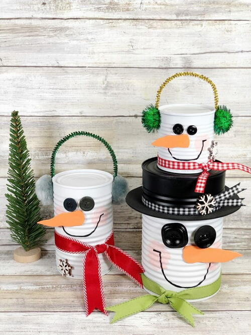 Recycled Tin Can Snowmen
