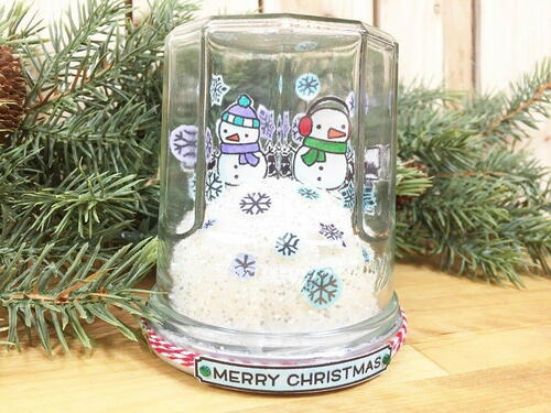 Snow Globe Christmas Card From A Recycled Jar