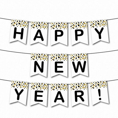 Happy New Year Printable Banner | FaveCrafts.com