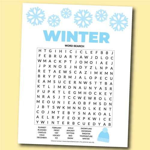 Printable Winter Word Search Puzzle