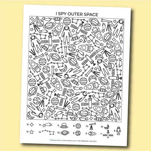 Printable I Spy Outer Space