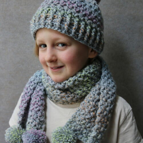 Watercolour Hat And Scarf Set