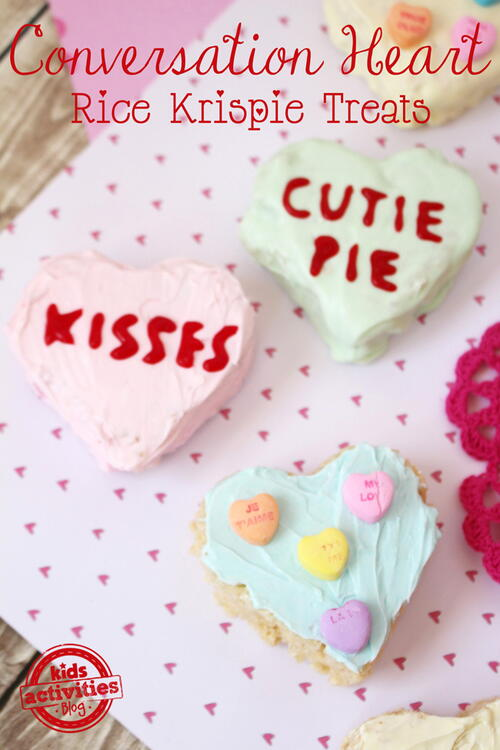 Conversation Heart Rice Krispy Treats