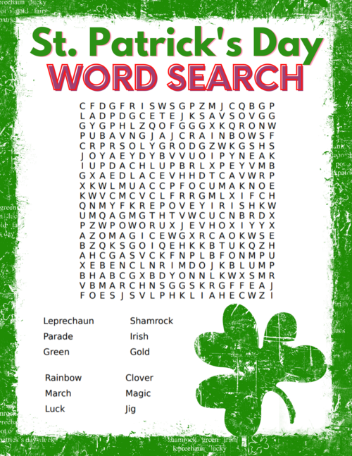 Free St. Patrick's Day Word Search Printable For Kids