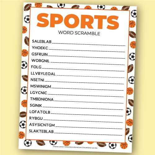 Printable Sports Word Scramble