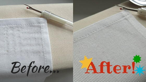 Image shows the fabric before and after the stitch mark removal process.