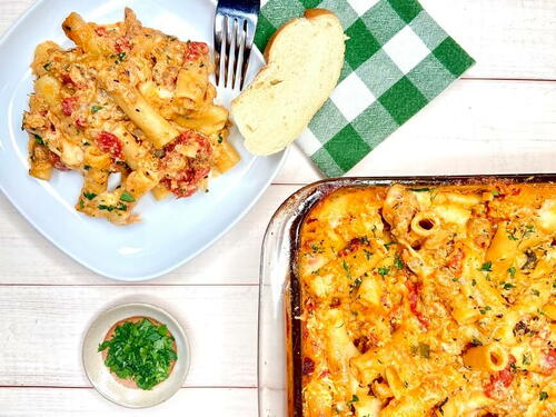 Baked Ziti With Ricotta And Italian Sausage