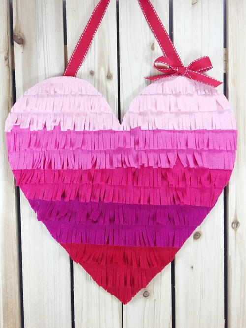 Ombre Felt Fringed Heart A Diy For Valentine's Day
