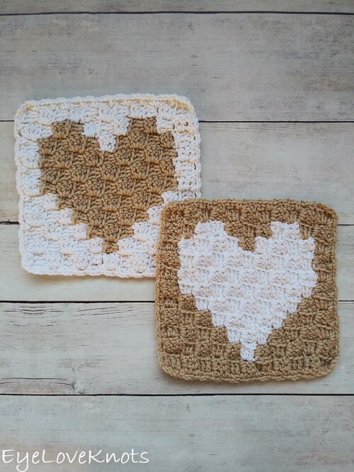 C2c Enamored Heart Afghan Square