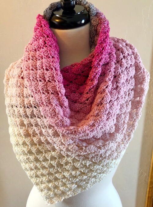 Feeling Flirty Lacy Shell Shawl Crochet Pattern