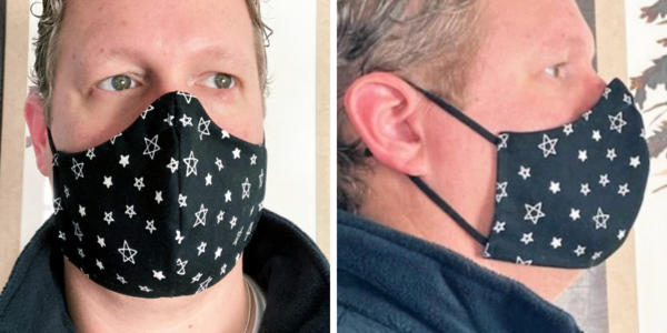 Image shows a man wearing Face Mask Template PDF - Style B. Two images: first is the front view of the DIY mask and second is the side view.