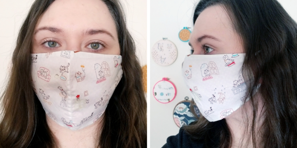 Image shows a woman wearing Face Mask Template PDF - Style A. Two images: first is the front view of the DIY mask and second is the side view.