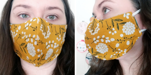 Image shows a woman wearing Face Mask Template PDF - Style C. Two images: first is the front view of the DIY mask and second is the side view.
