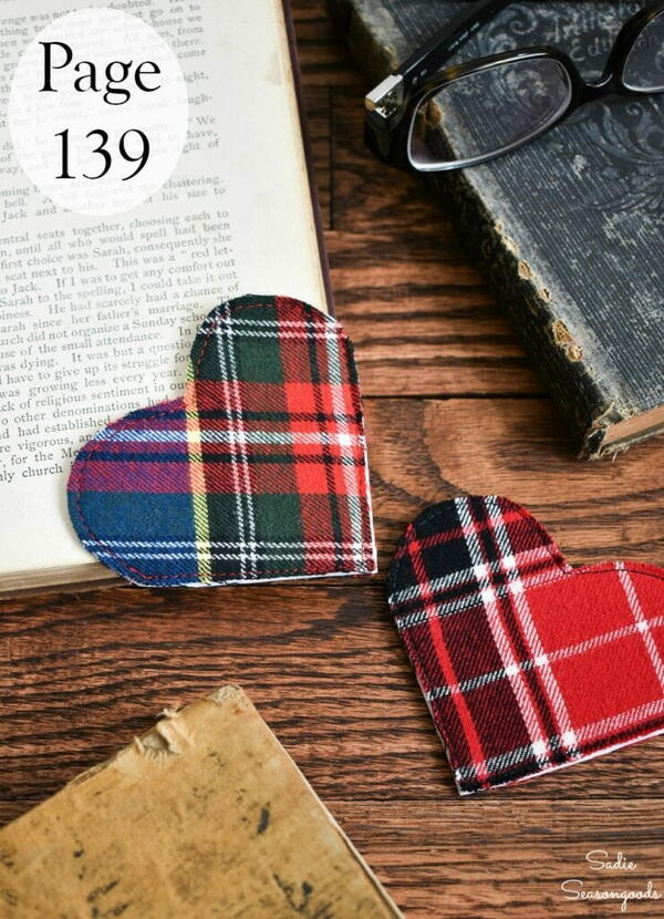 Crafting With Flannel - DIY Flannel Heart Bookmarks