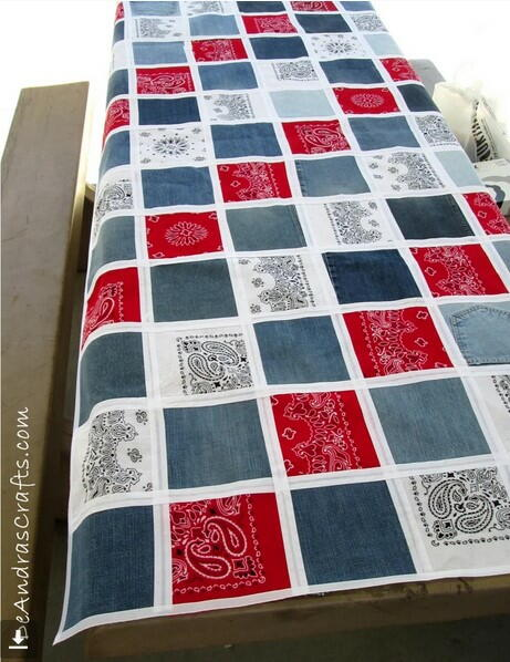 Upcycled Denim and Bandana No-Sew Tablecloth
