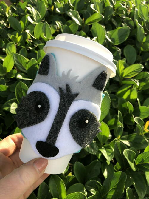 Diy Woodland Raccoon Coffee Cozy