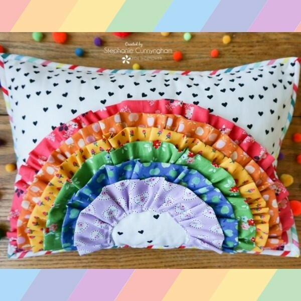 Ruffles and Rainbows Colorful Pillow