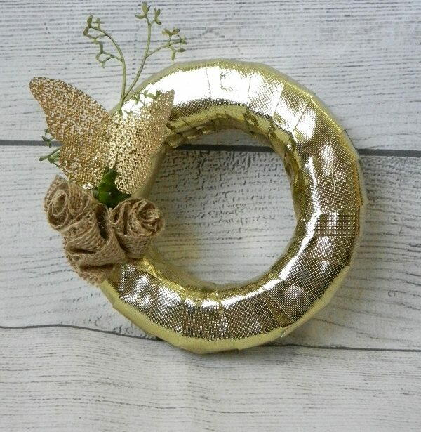 Metallic Gold Spring Butterfly Wreath
