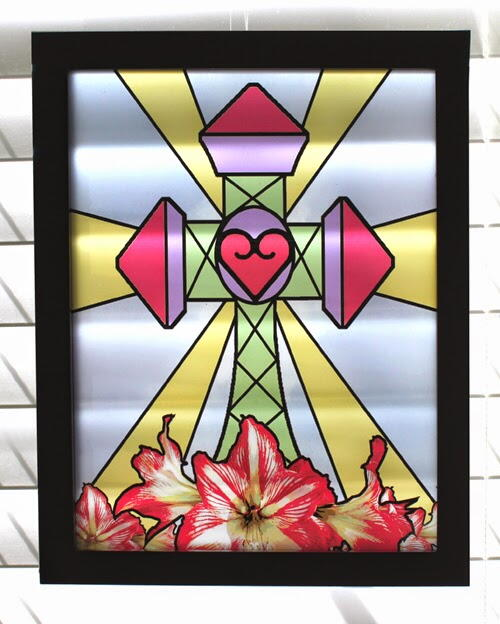 Easter Cross Stained Glass Decor