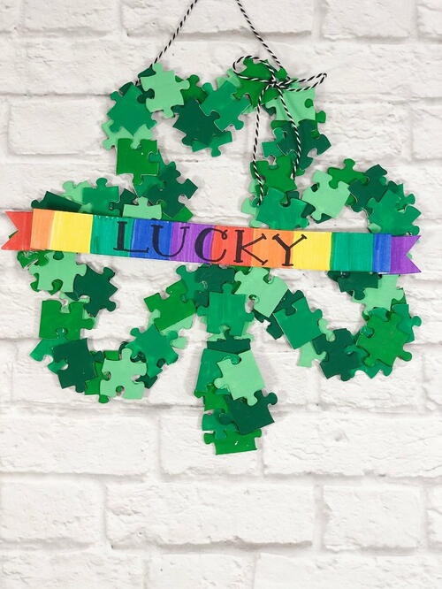Upcycle A Lucky Shamrock Wreath From Puzzle Pieces