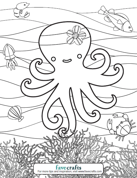Adorable Octopus Coloring Page PDF