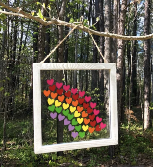 Rainbow Window Hearts