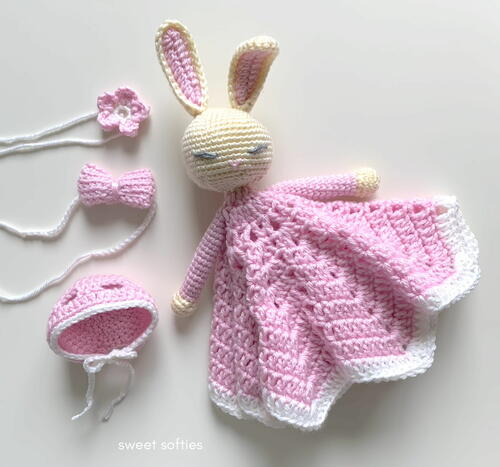 Dress-up Bunny Rabbit Lovey Baby Security Blanket With Flower, Bow, And Bonnet