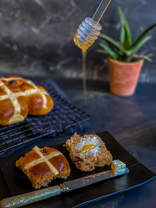 Healthier Traditional Easter Hot Cross Buns