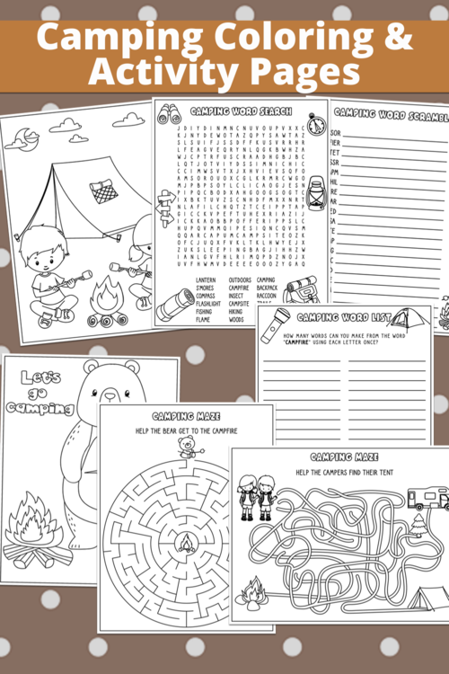 Free Camping Coloring Pages And Activity Pages For Kids