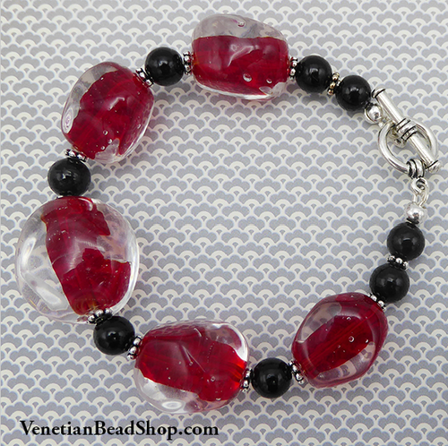 Red Murano Glass Bead Bracelet
