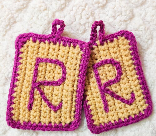 Surface Slip Stitch Crochet Name Tags
