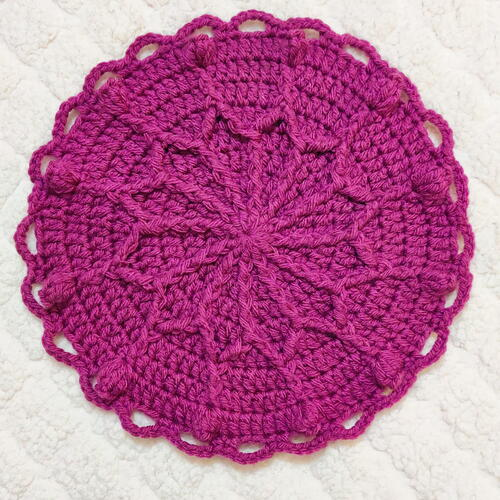 Outline Flower Crochet Potholder