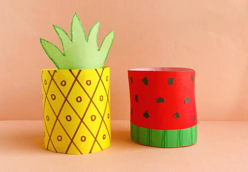 Toilet Paper Roll Watermelon And Pineapple Crafts For Kids