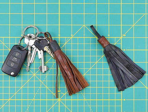 Leather Tassel Keychain Diy