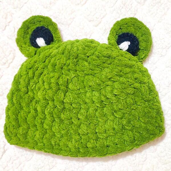 Easy Soft Plush Crochet Frog Baby Hat