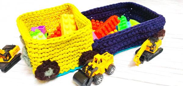Toy Truck Crochet Storage Basket With Tshirt Yarn