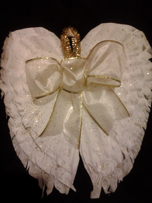 Coffee Filter Angel Wings Ornament