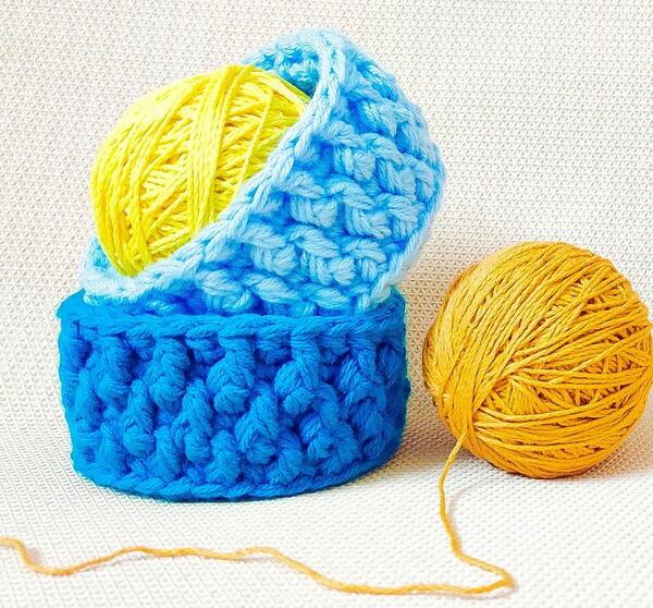Three Strands Textured Crochet Organizer Baskets